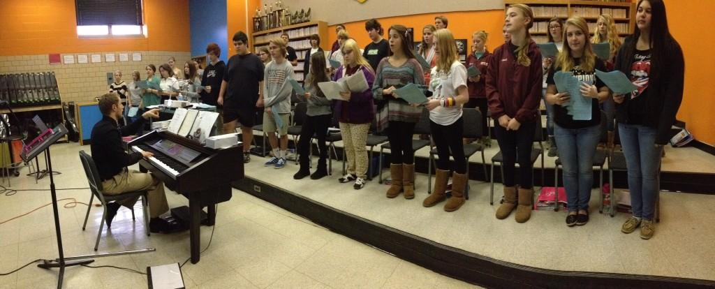 Hereford Chorus teacher David Sobel leads students through their new piece.  They worked to harmonize their voices in order to master their new song.