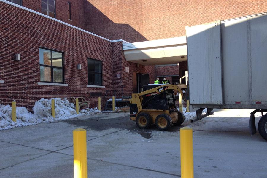 SAFETY FIRST On February 11, 2013 shortly before the end of first period, Assistant Principal Joe Jira came on the intercom and announced to all students and teachers that a tractor trailer was being unloaded outside the gym entrance. Construction has impacted student's usual paths walking around the school and this construction interference should be avoided walking to the gym or trailers nearby.