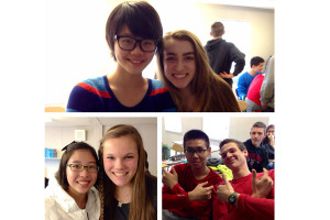 Clockwise from top: Chinese exchange students Caroline, Rick, and Rachel pose with student hosts Kat Benson (10), Dylan Fox (10), and Christy Ivey (10). The exchange students and their hosts visited Ocean City on Saturday, February 15.