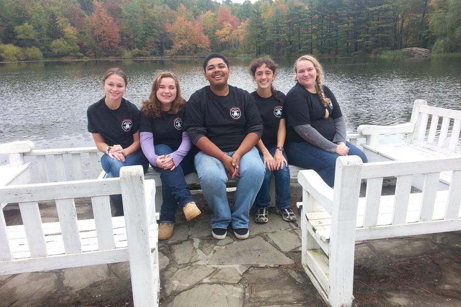 The officer team poses for photos at Summit Lake Camp. They attended a retreat for leadership training (COLT).