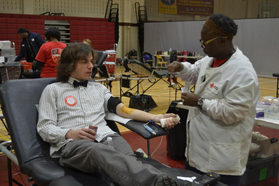 Mike Bailey (15) donates blood with the Red Cross. Each donation could save up to three lives.