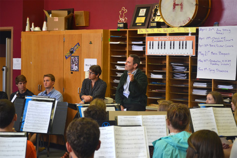 Jim Baseman came to talk to 2A band class about their piece Chorus Angelorum which was written in memory of his son Joey and his mother Joan after they died in a car accident.