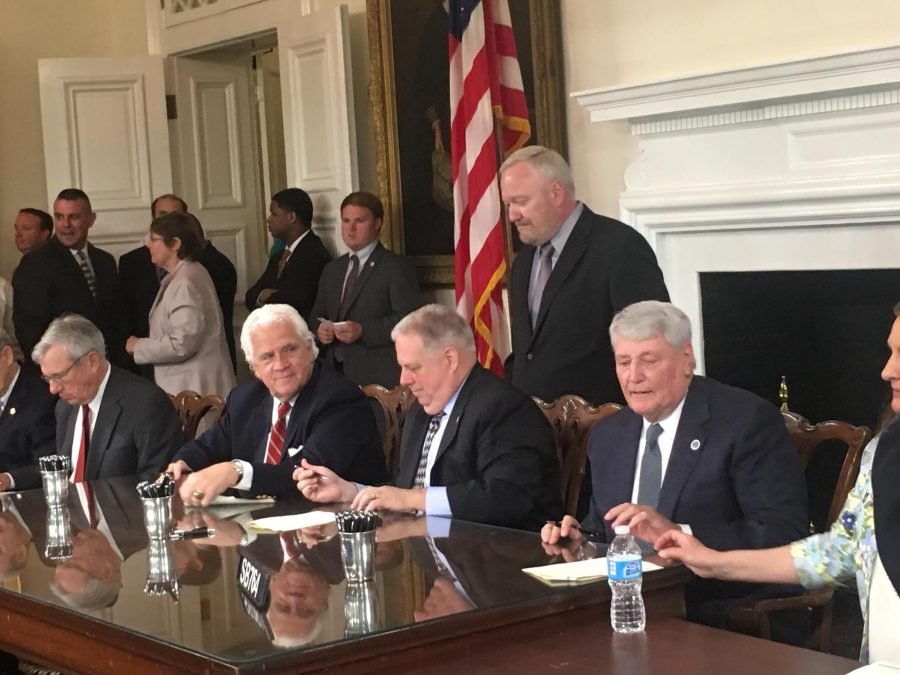 Governor Hogan signs Senate Bill 764. The new Maryland law provides free speech rights for student journalists and their advisors.