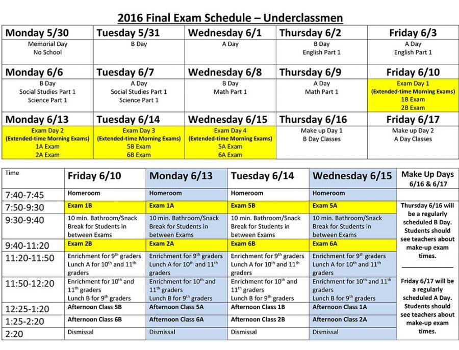 Underclassmen Exam Schedule 2016 FINAL