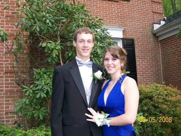 Math teacher Jillian Watkins at her senior prom in '08. Her date is now her husband.