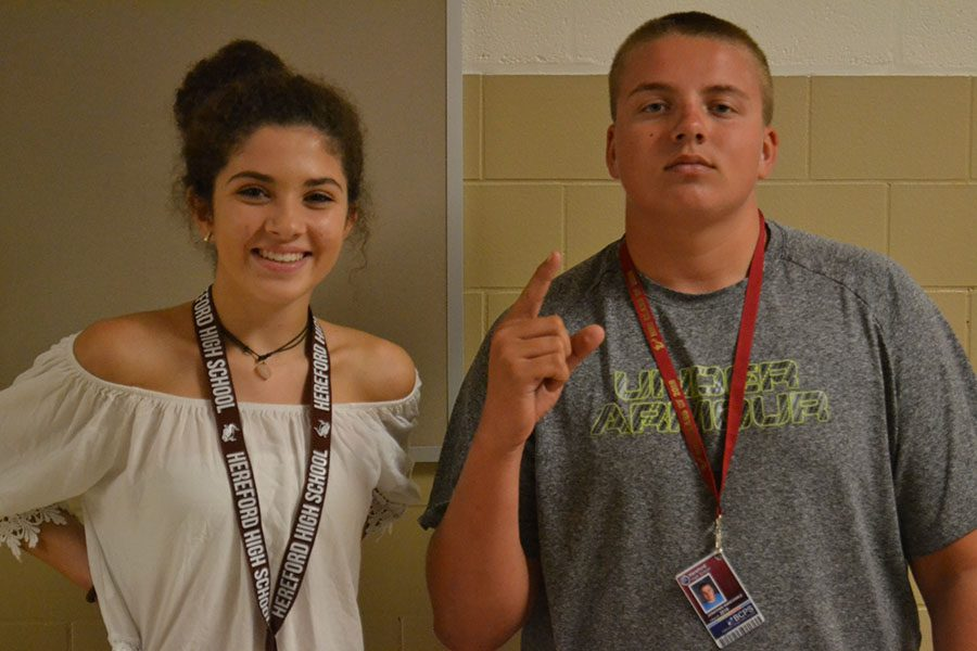 Caroline Diaz ('19) and Jon Wancowicz ('18) wear special lanyards for their class. All money from the lanyards will go to class funds.