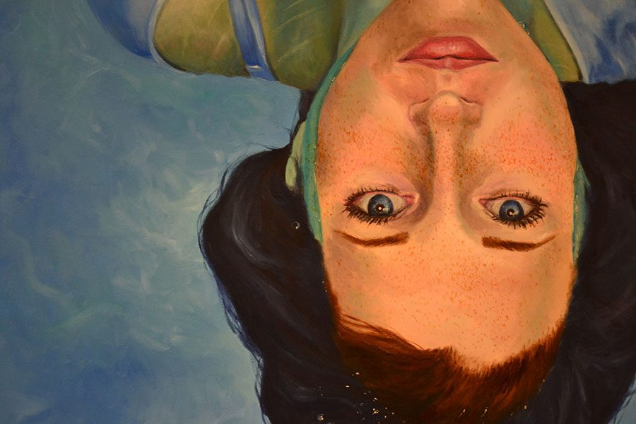 Sarah Huffman's ('17) underwater is an oil painting based on the works of artist Alyssa Monks.