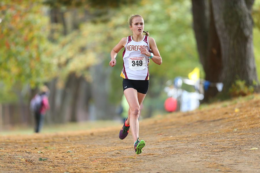 Kelly Wesolowski ('17) runs for Hereford cross country. This is one of many successful races she has run since returning to the course after months of injury.