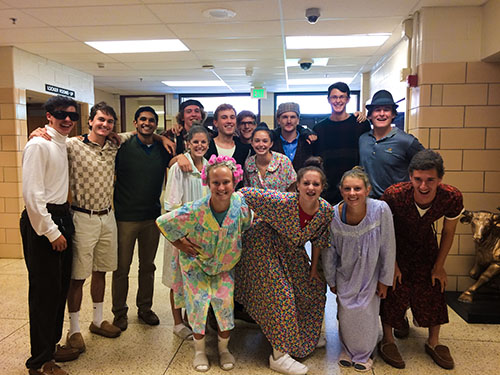 Seniors dress up as senior citizens for generation day during spirit week.