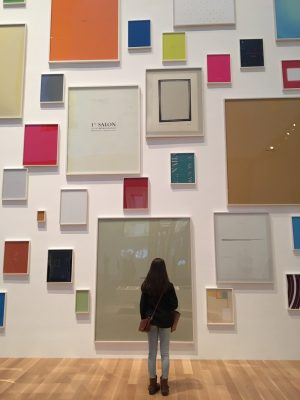 "Isabelle Conover (17') admires the art in MOMA.  Conover especially liked the exhibits where you could walk through them and ""be in the art."""