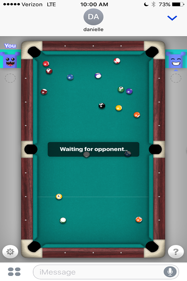 8-ball is a trendy game to play with friends on iPhones. Danielle Alms ('17) won her 58th game against an opponent.