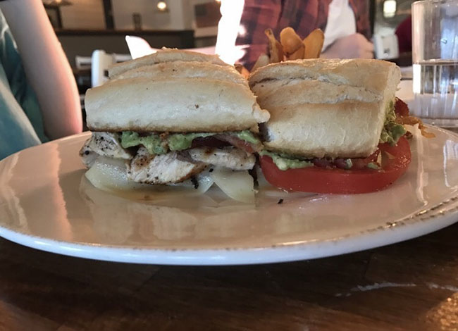 The chicken provolone panini should have been called a sub or haogie, because it was served on a sub roll that showed no evidence of being under a panini press.