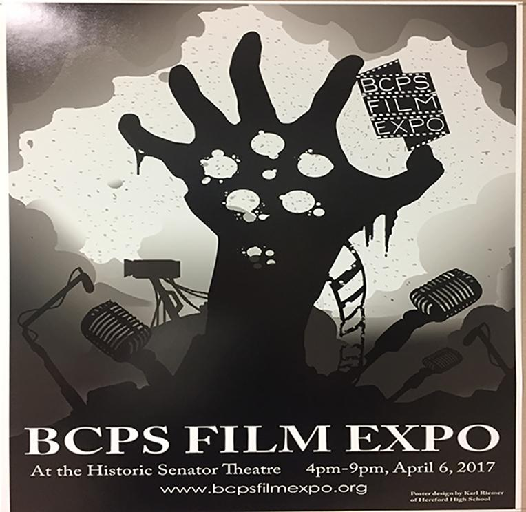 The BCPS Film Expo is a one day event designed to showcase the creative film work of BCPS high school students. Karl Riemer's ('19) work was chosen as the official poster for the Expo.