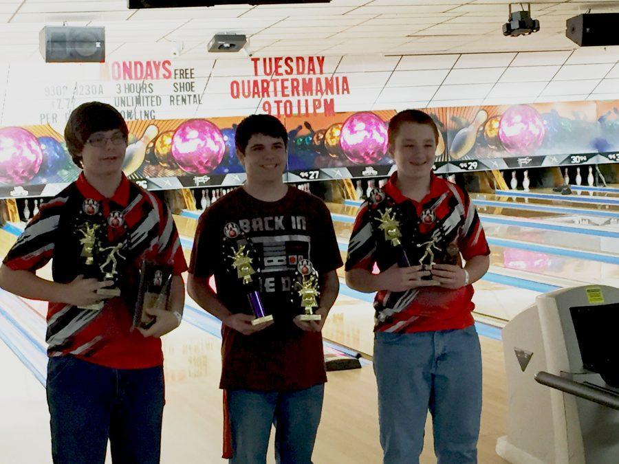 Allied bowler Addison Leisher ('20) stands among winners of the Pennsylvania Junior Bowling Tournament.  Liesher has won over 800$ in scholarship money in his bowling efforts.