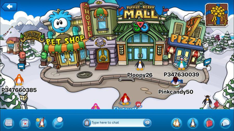 Ploopy26 stands outside of the Town Square with his fellow penguins and puffles . He planned on visiting the Pizza shop for a quick pie.