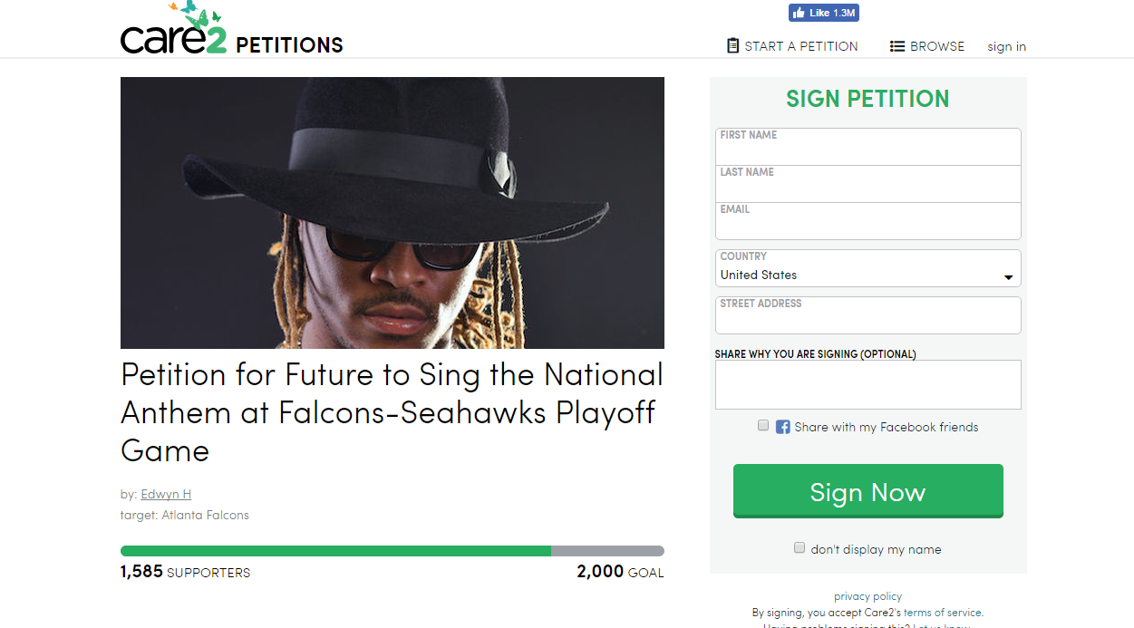 Future fans attempt to have him sing the national anthem against Russell Wilson's Seahawks. Future's hometown Falcons obliterated the Seahawks in this past years' playoffs.