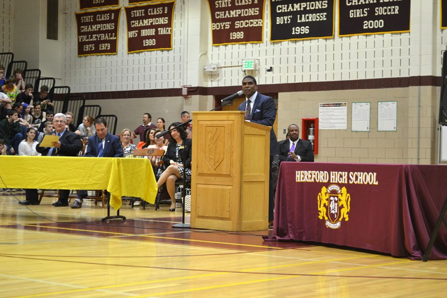 """Superintendent Dallas Dance at Hereford High School's National Blue Ribbon day last May. """"The last five years serving as Superintendent of Team BCPS have been the best years of my professional life,"""" Dance said. """"I truly believe BCPS is in a better place today than when I first arrived."""""""