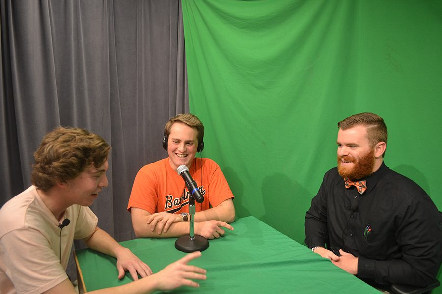 Teacher Ed Martin and Hugh Lory ('17)  appear on Tony's premier episode in a heated sports dispute.