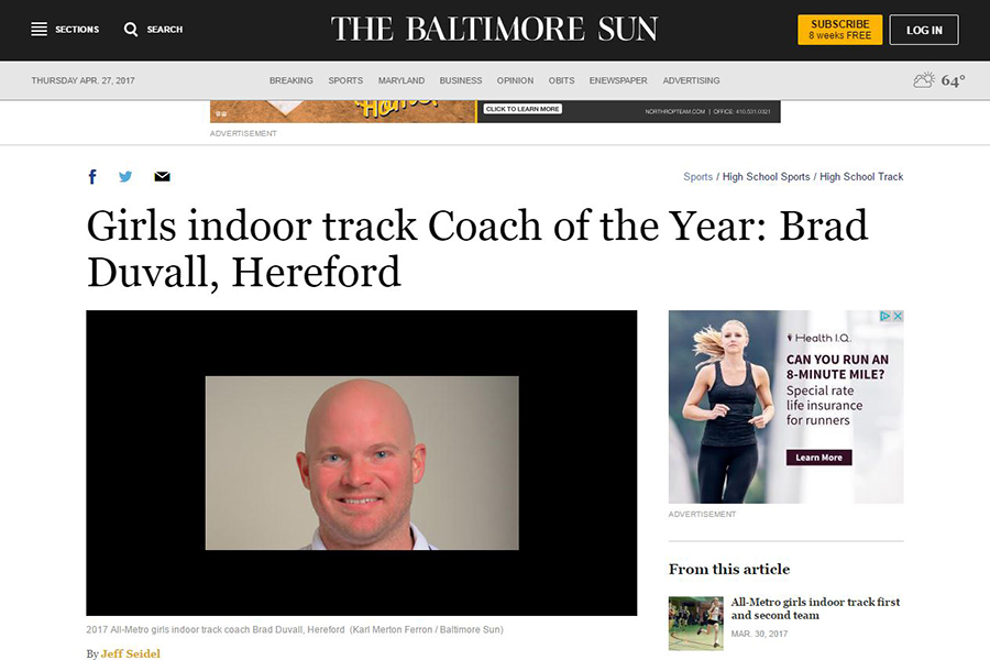 Brad+Duvall+is+the+winner+of+Coach+of+the+Year.+He+was+featured+in+the+Baltimore+Sun+in+a+short+article+about+his+win.
