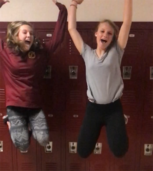 Hannah Weeren ('18) and Jen Barranco ('19) jump for the 2017 long spring break. Weeren is traveling to Mexico and Barranco is  visiting her grandparents in Maryland for spring break.