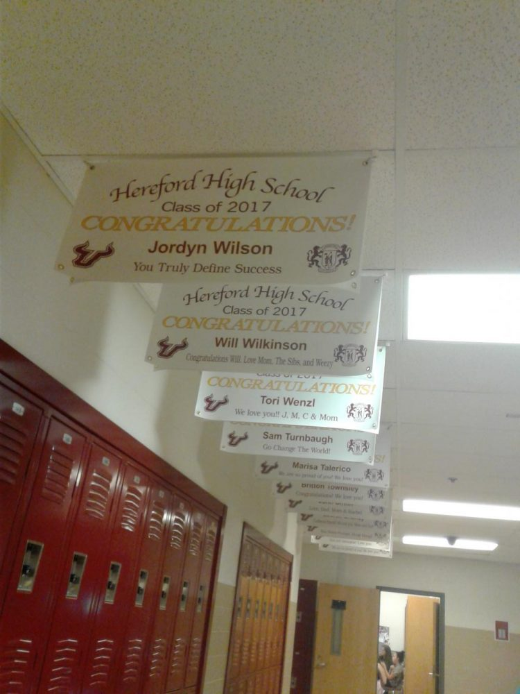 Senior banners hang in the English hallway. The banners were bought by the family of students to recognize their children's accomplishments.