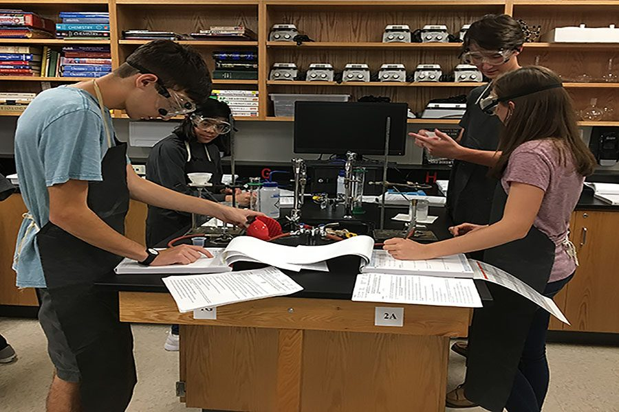 "Nathan Hamidi ('19) and Jenna Tognola ('18) write down measurements taken in their first AP Chemistry lab.  ""This is really just an intro [lab] so that we can get used to the environment. There's also the application for it in that The Mill theoretically uses this salt to so we're trying to find out what it is,"" said Tognola. ""We're trying to find an unknown chloride salt by precipitating a chlorine ion from the solution and taking it from there; we'll be able to do well on future labs by learning the ins and outs of the lab environment with this [introductory lab]."""