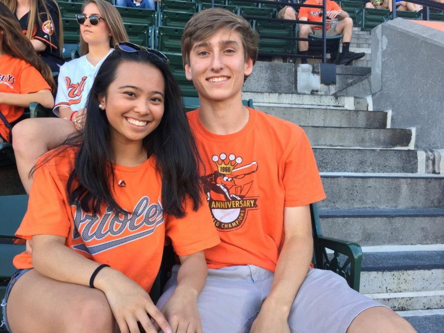 Nico Avila ('18) and Katrina Villanueva ('18) go to a Baltimore Oriole's game and went to dinner after.
