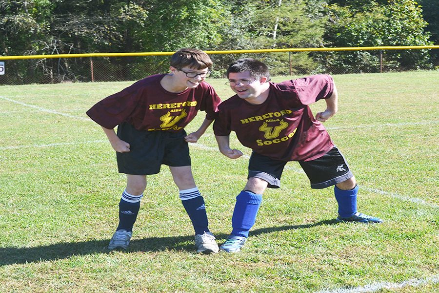 Teammates, Russell Stevenson ('20) and Soots goof-off during pregame warmups. Tim had the goal of the year in our game on Monday, Coach Jim Rhoads said.  They both scored a goal during the game. Russel describes Tim as The coolest guy Ive ever met.