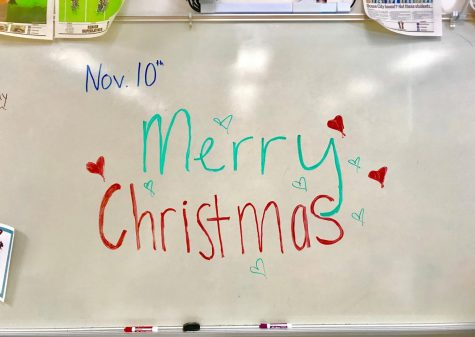 Students are excited about the holiday season. They decorated the board in Christmas spirit already.
