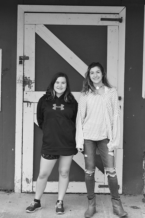Maddison O'Brien ('21) [left] and Trina Gerovasilis ('20) [right] both participate in the agriculture program this year.