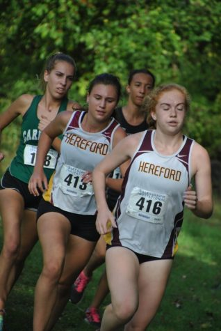 Emily Francis('19) and Nicole Burkowski ('18) push each other to finish the race. The cross country team won counties this year.