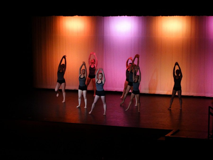Company dance class starts off the winter concert with a colorful interpretive dance.