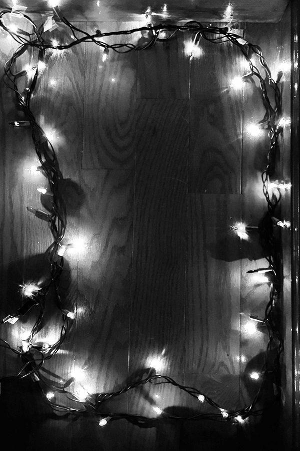 xmas lights b&w