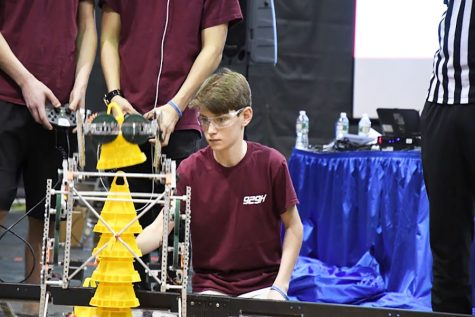 Brown controls his robot in the 201 VEX Maryland High School Championship Tournament. His team consisted of George Koutsoukos ('20), Zac Perkins ('18), and Stirling Fazio ('19), who won their division.