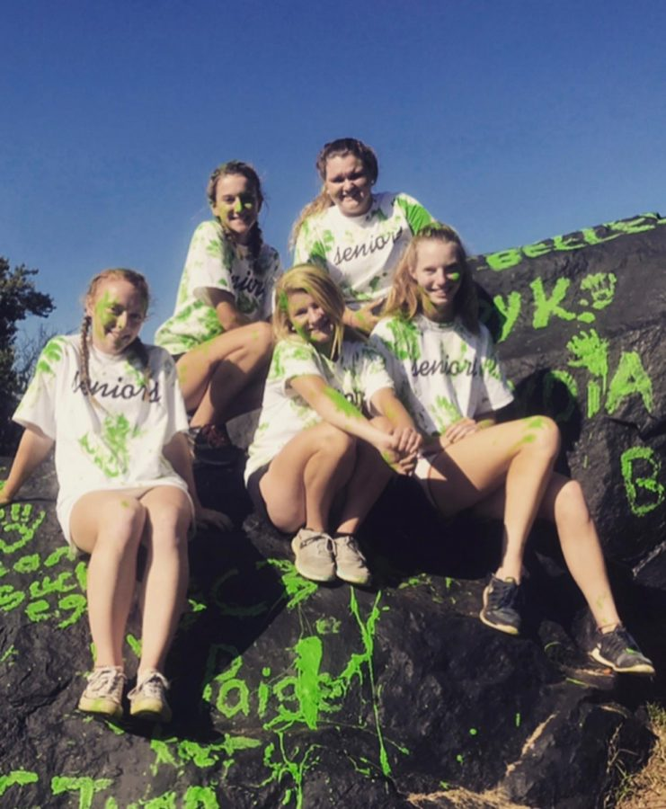 Grace Jung ('18), Paige Johnson ('18), Emily Levitt ('18), Lydia Naughton ('18), and Kristen Mitchell ('18), celebrate the start of the year at Dulaney High School's annual senior barbecue. Students have been painting the rock since 1965.