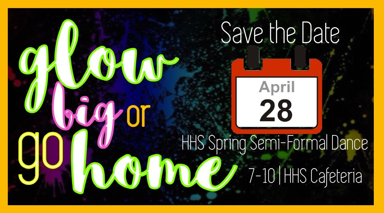 Informational advertisements for the Glow Dance are posted throughout the hallways and on social media.