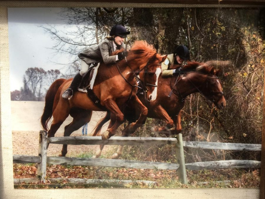 Hannah+O%27Brien+%28%2719%29+jumps+a+fence+while+fox+hunting+with+Mount+Caramel+Hunt+Club.++She+started+fox+hunting+before+she+started+show+jumping.+