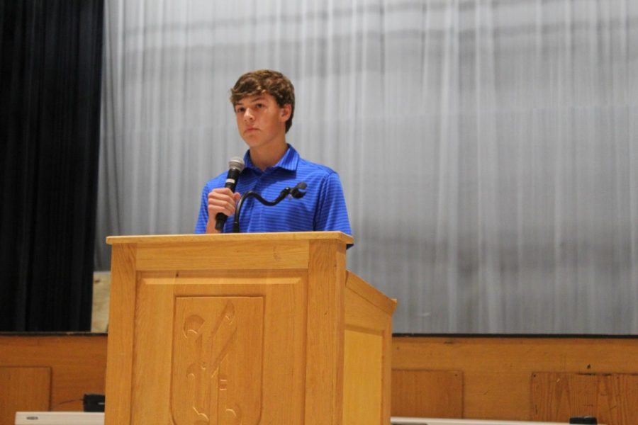 Vice President, Matthew Campbell ('22) takes a pause during his speech. He competed with several peers to earn his seat in the class government.
