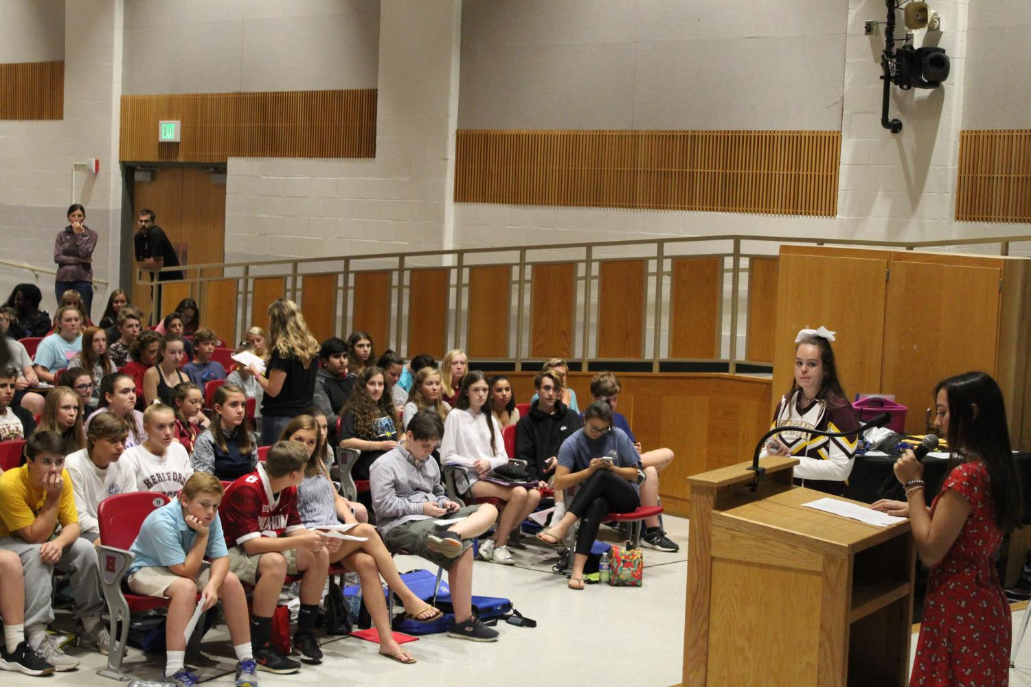 Sophia Rudolph ('22) delivers a speech before her peers. She won the position of president for the class of 2022.