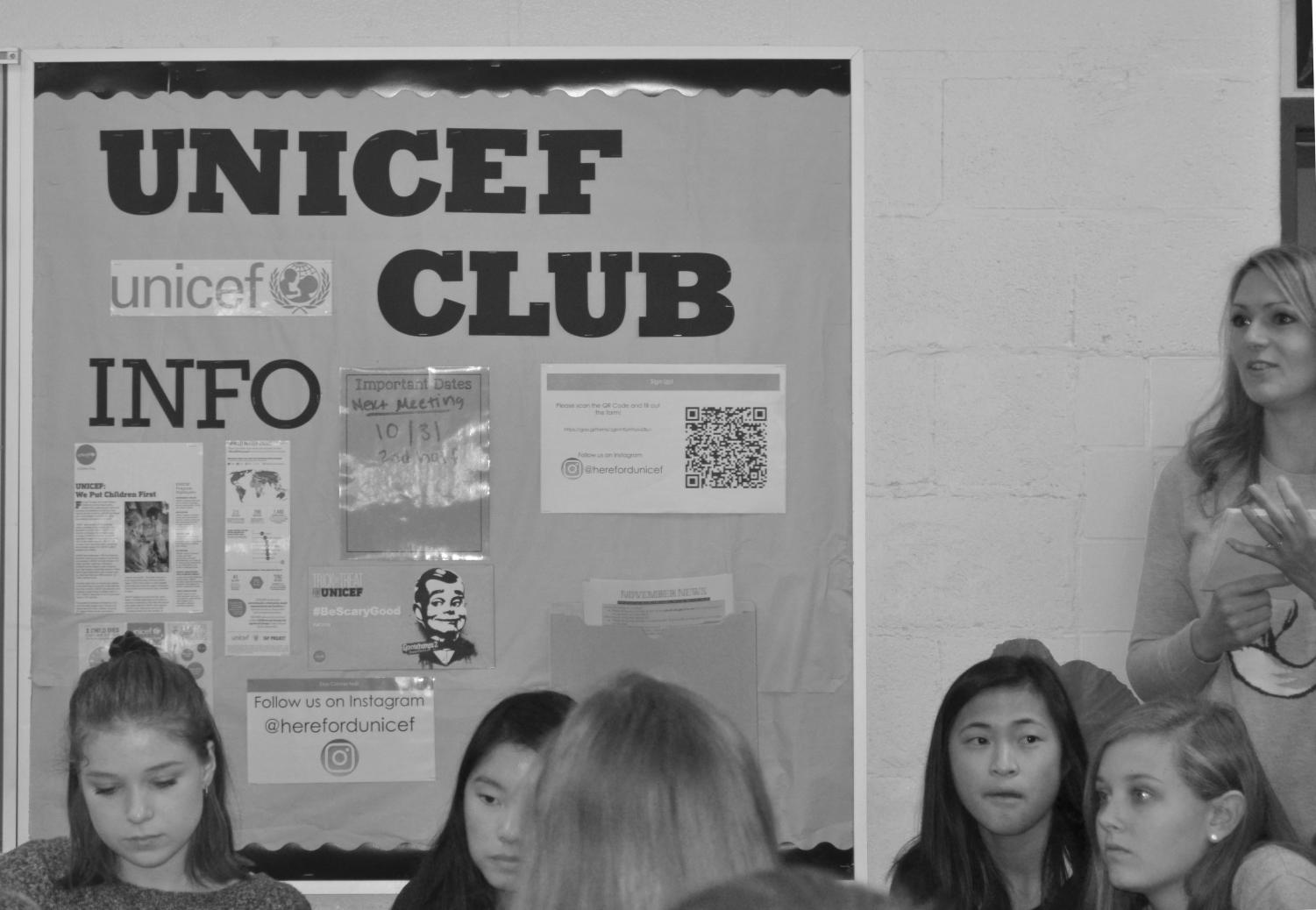 Adviser Jennifer Houseknecht advertises information for UNICEF on a bulletin board in her classroom. She looked forward to taking a new club during her second year at school.